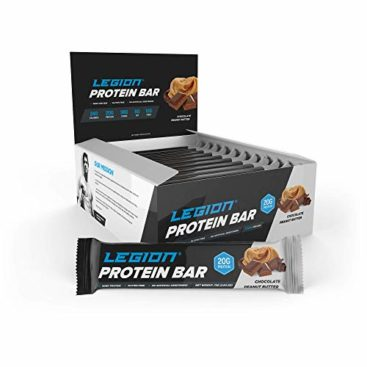 Legion Protein Bar - 100% Whey and Pea Protein, Baked Bars with Prebiotic Fiber - High Protein (20g) Low Fat (6g) Low Sugar (4g), No Soy or Gluten - Natural Flavors (12) (Chocolate Peanut Butter) ...